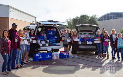 Flour Bluff High School students from St. Andrew by the Sea Youth Group raise money and donate shoes to FBISD through the Soles for Souls angel project.
